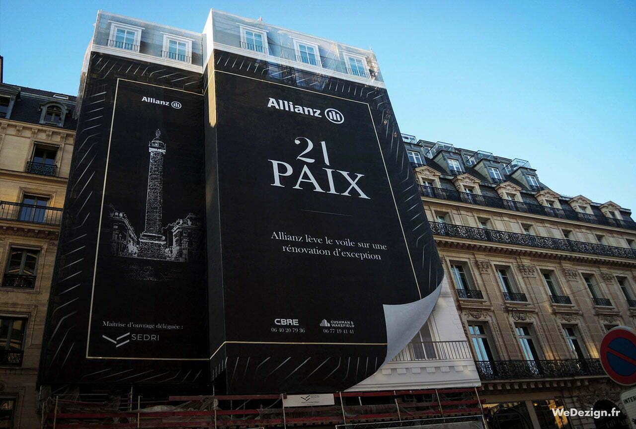 Bâche Publicitaire échafaudage Allianz 21 Paix