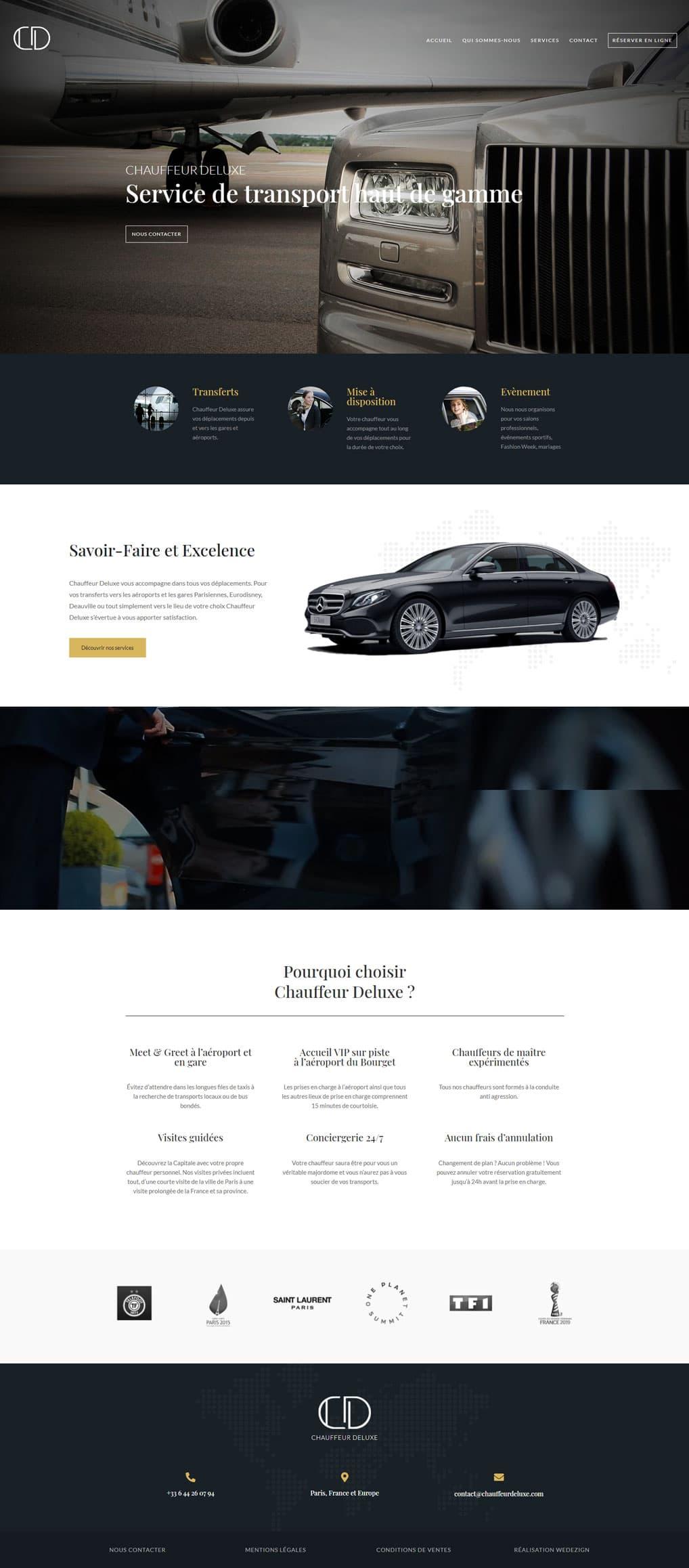 Maquette site web accueil chauffeur deluxe